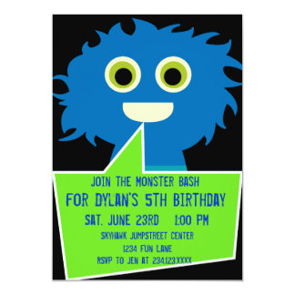 Blue Green Monster Birthday Invitations Kids Party