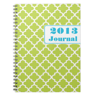 Blue green Moroccan tile trendy annual journal
