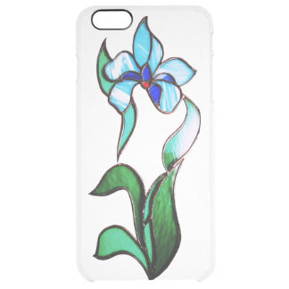 Blue green neon flowers clear iPhone 6 plus case