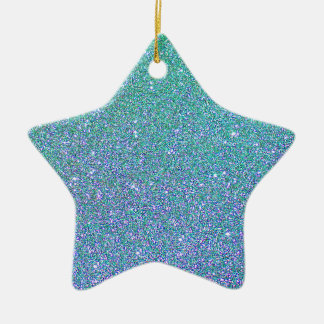 Blue Green Ombre Glitter Background Ceramic Star Decoration