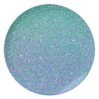 Blue Green Ombre Glitter Background Dinner Plate