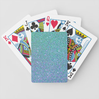 Blue Green Ombre Glitter Background Poker Deck