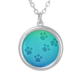 Blue Green Ombre Paw Print Heart - Paws Print Silver Plated Necklace