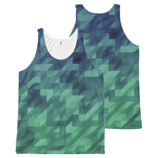 Blue & Green Ombre Watercolor Geometric All-Over Print Singlet