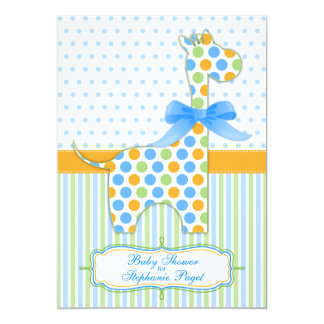 Blue Green Orange Giraffe Baby Shower Invitation