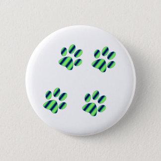 Blue Green Paw Prints 6 Cm Round Badge