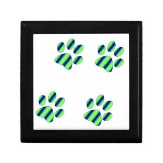 Blue Green Paw Prints Gift Box