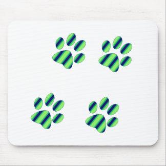 Blue Green Paw Prints Mouse Pad