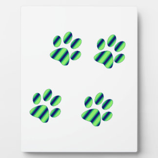 Blue Green Paw Prints Plaque