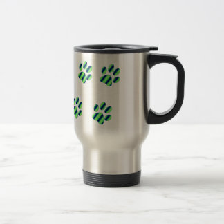 Blue Green Paw Prints Travel Mug