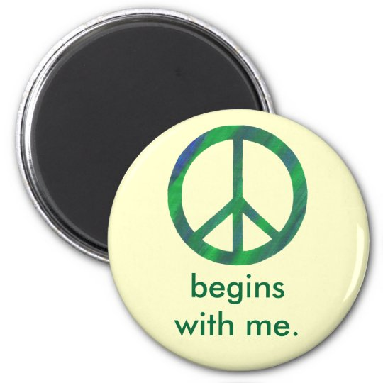 Blue Green Peace Sign, Begins With Me Magnets