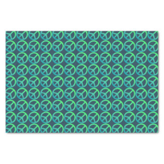 Blue Green Peace Sign Pattern Tissue Paper