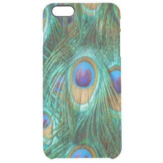 Blue Green Peacock Feathers Clear iPhone 6 Plus Case