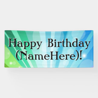 Blue/Green Personalised Birthday Party Banner