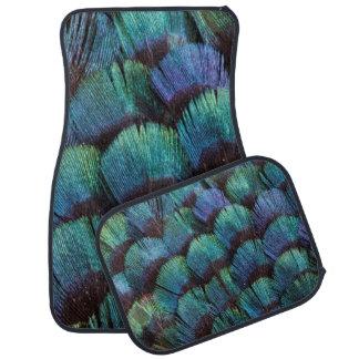 Blue-green pheasant feather design car mat