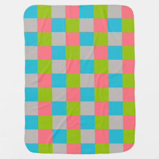 Blue Green Pink Gray Checkerboard Baby Blanket
