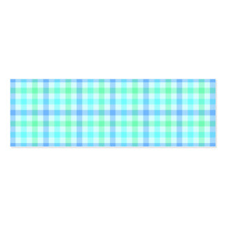 Blue Green Plaid Double-Sided Mini Business Cards (Pack Of 20)