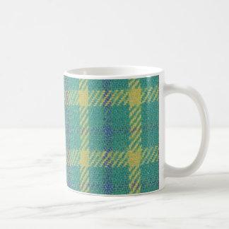 Blue Green Plaid Design Coffee Mugs