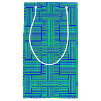 blue green plaid gift bag