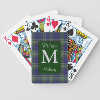 Blue Green Plaid Monogrammed Playing Cards