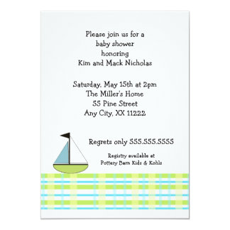 Blue Green Plaid Sail Boat Baby Shower Card