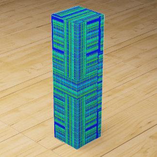 blue green plaid wine box