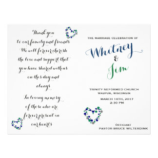 Blue & Green Polka Dot Foldable Wedding Programs Flyer