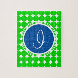 Blue & Green Polka Dot Monogram Jigsaw Puzzle