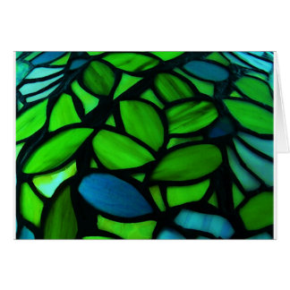 Blue Green Pretty Stained Glass Note Greeting Card