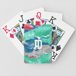 Blue green red and gray Marble Bicycle Playing Cards