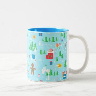 blue green red elves christmas Two-Tone coffee mug