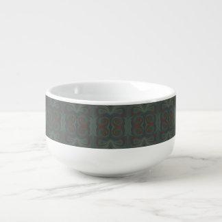 blue green red paint swirls soup mug