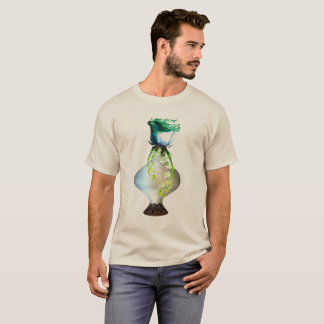 Blue Green Rose Still Life shown on Sand colored T-Shirt