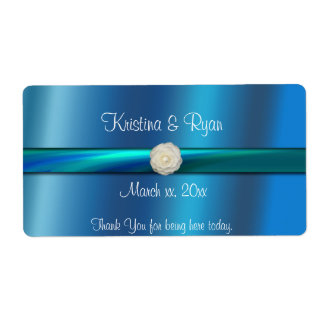 Blue& Green Satin Ribbon Wedding Wine/Water Label Shipping Label