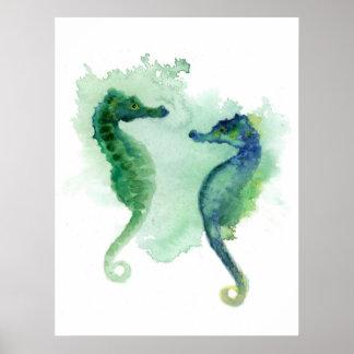 Blue green seahorses white poster seahorse