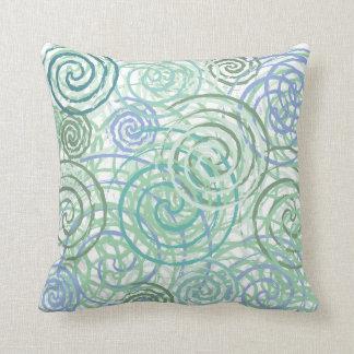 Blue Green Seaside Swirls Beach House Design Cushion
