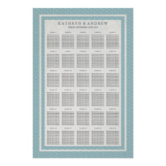 Blue Green Seigaiha Wedding/Event Seating Chart Poster