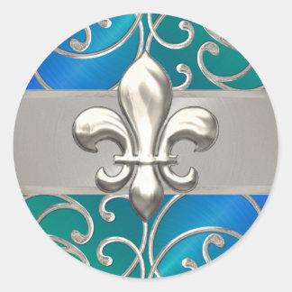Blue Green Silver Filigree Swirls Fleur de Lis Round Sticker