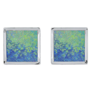 Blue Green Silver Finish Cufflinks