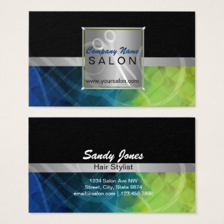 Blue, green- Silver scissors- Hair & Beauty Salon Business Card