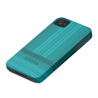 Blue-Green Simple 2-Way Stripes Pattern Case-Mate iPhone 4 Cases
