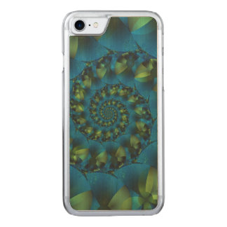 Blue & Green Spiral Fractal iPhone 6 Wood Carved iPhone 7 Case