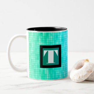 Blue/Green Square Pattern Initial Cup