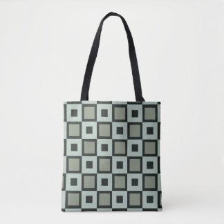 Blue-Green Square Pattern Tote Bag