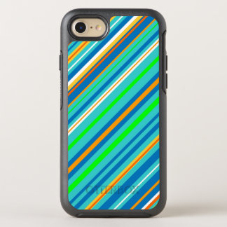 Blue Green Stripes Abstract Pattern OtterBox Symmetry iPhone 7 Case