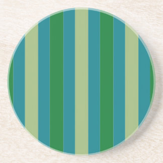 Blue Green Stripes on Sandstone Coasters