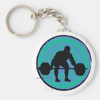 Blue green strong man weightlifter key chain