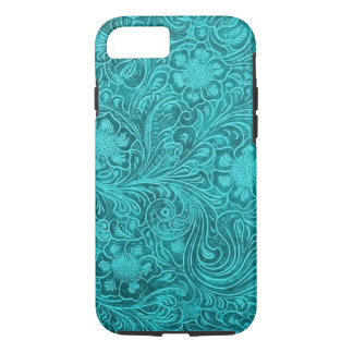 Blue-Green Suede Leather Floral Pattern iPhone 8/7 Case