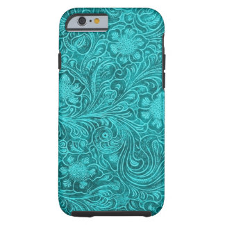 Blue-Green Suede Leather Floral Pattern Tough iPhone 6 Case