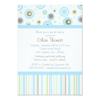 Blue Green Sweet Baby Boy Polka Dot Baptism Invite
